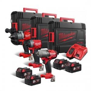 Set treh akumulatorskih FUEL orodij v treh kovčkih